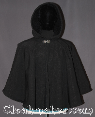 Cloak:3286, Cloak Style:Full Circle Short Cloak<br>waterproof, Cloak Color:Black, Fiber / Weave:100% polyester Double Layer fleece<br>with waterproof exterior, Cloak Clasp:Vale, Hood Lining:Self-lining, sherpa texture, Back Length:27&quot;, Neck Length:22&quot;, Seasons:Winter, Southern Winter, Fall, Spring, Note:Rain/water repellant<br>sherpa fleece interior!<br>This warm short full circle<br>fleece cloak is perfect for<br>young and old.<br>Short for children at play<br>and adults who need to<br>run a few errands.<br>Machine washable..