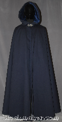Cloak:3291, Cloak Style:Shaped Shoulder Cloak<br>with arm slits waterproof, Cloak Color:Navy Blue, Fiber / Weave:Raincoat Fabric<br>Coated Cotton Twill, Cloak Clasp:Triple Medallion, Hood Lining:Blue Cotton Velveteen, Back Length:57&quot;, Neck Length:22&quot;, Seasons:Southern Winter, Fall, Spring, Winter, Note:A heavy duty shape shoulder rain cloak<br>can stand up to most new england weather.<br>Designed with protected arm slits for ease<br>of arm use while battling a windy wet day.<br>Adorned with a pewter<br>triple medallion clasp<br>and warm blue velveteen  hood lining<br>you will look great while<br>staying warm and dry.