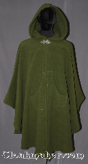 Cloak:3305, Cloak Style:Shaped Shoulder Ruana with pockets, Cloak Color:Olive Green, Fiber / Weave:100% Polyester Fleece, Cloak Clasp:Triple Medallion, Hood Lining:Self-lining, sherpa texture, Back Length:43&quot;<br>28&quot; overarm, Neck Length:22&quot;, Seasons:Winter, Southern Winter, Fall, Spring, Note:Warm functional and water resistant<br>this olive green ruana has a self-lining,<br>sherpa texture with front pockets<br>for warm hands or small items.<br>A cross between a cape and a cloak,<br>a ruana is a great way to keep warm<br>while frequent, unhindered use of<br>your arms is needed.<br>Ruanas make great driving cloaks!<br>Machine washable..