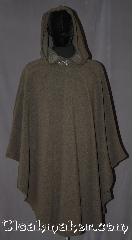 Cloak:3308, Cloak Style:Shaped Shoulder Ruana Cloak, Cloak Color:Taupe Brown /  Mushroom Brown, Fiber / Weave:WindPro Herringbone Fleece<br>(wool-like exterior), Cloak Clasp:Triple Medallion, Hood Lining:Self-lining Grey, Back Length:42&quot;, Neck Length:22.5&quot;, Seasons:Fall, Spring, Southern Winter, Winter, Note:Textured to look like wool on the outside<br>this mushroom windpro fleece grey cloak<br>is a warm, rustic addition to your outdoor event<br>Warm with an interior fleece backing<br>Machine Washable<br>DO NOT DRY CLEAN.