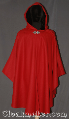 Cloak:3316, Cloak Style:Shaped Shoulder Ruana Cloak, Cloak Color:Red, Fiber / Weave:100% Wool, Cloak Clasp:Vale, Hood Lining:Black Silk Velvet, Back Length:42&quot; long<br>Overarm 33&quot;, Neck Length:23&quot;, Seasons:Fall, Spring, Note:Fantasy Red Riding Hood shape shoulder ruana cloak<br>made of a soft bright red 100% wool<br>with a black silk velvet hood lining<br>  and triple medallion pewter clasp<br>An elegant cross between a cape and a cloak,<br>a ruana is a great way to keep warm<br>while frequent, unhindered use of<br>your arms is needed.<br>Ruanas make great driving cloaks!<br>Spot or dry clean only..