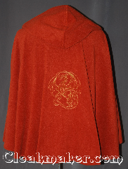 Cloak:3318, Cloak Style:Shaped Shoulder, Cloak Color:Burnt umber, Fiber / Weave:Polyester Fleece, Cloak Clasp:Vale - Goldtone, Hood Lining:Unlined, Back Length:31&quot;, Neck Length:21.5&quot;, Seasons:Fall, Spring, Note:&quot;Never laugh at live dragons.&quot;<br>? J.R.R. Tolkien<br>This joyful cloak brings out your inner<br>dragon with a embroidered<br>European style dragon in<br>gold tones in the back<br>Lightweight and easy care,<br>this rust/burnt umber shape shoulder<br>is a great piece of fall/spring outerwear.<br>Made  with fluffy polyester fleece,<br>This unlined cloak makes a great accessory<br>for everyday wear, LARP or Renaissance Fair.<br>The cloak is machine washable, so throw it on<br>whenever you need some extra warmth..