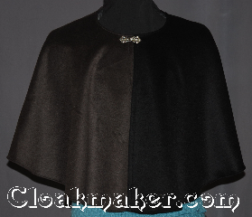Cloak:3320, Cloak Style:Shaped Shoulder Parti Cloak<br>Hoodless, Cloak Color:Black Brown, Fiber / Weave:Brushed wool cashmere blend, Cloak Clasp:Stina Pewter, Hood Lining:N/A, Back Length:22&quot;, Neck Length:25.5&quot;, Seasons:Winter, Southern Winter, Fall, Spring, Note:A classic black and brown collared mi-parti<br>or parti-coloured is a cloak made of two<br>contrasting fabrics, one on each side.<br>Especially popular at the<br>English mid-century court;<br>this eye-catching cloak is a<br>garment for any occasion.<br>Made of a long pile 100% wool<br>you will love to pet.<br>Dry or spot clean only..
