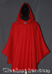 Cloak:3321, Cloak Style:Shaped Shoulder Ruana Cloak, Cloak Color:Red, Fiber / Weave:100% Wool, Cloak Clasp:Vale, Hood Lining:Unlined, Back Length:36&quot;, Neck Length:20&quot;, Seasons:Winter, Note:A fantasy red shape shoulder ruana cloak<br>made of a soft bright red 100% wool<br>with a vale  pewter clasp<br>An elegant cross between a cape<br>and a cloak, a ruana is a great way<br>to keep warm while frequent,<br>unhindered use of your arms is needed.<br>Ruanas make great driving cloaks!<br>Spot or dry clean only..