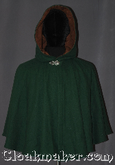 Cloak:3323, Cloak Style:Shaped Shoulder-Short, Cloak Color:Hunter Green, Fiber / Weave:100% wool melton, Cloak Clasp:Vale, Hood Lining:Brown Faux Suede, Back Length:24.5&quot; back<br>23&quot; overarm, Neck Length:19.25&quot;, Seasons:Fall, Spring, Southern Winter, Winter, Note:This youth/ Young adult short shape<br>shoulder cloak is a perfect first cloak<br>that will grow with your child<br>for years to come.<br>Short enough for play and made of<br>a rugged, warm green 100% wool<br>with a faux suede hood lining,<br>and adorned with a elegant<br>pewter vale clasp.<br>Handwash cold.