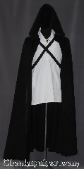 Cloak:3324, Cloak Style:Half Circle Cloak<br>Game of Thrones, Cloak Color:Black, Fiber / Weave:100% wool twill with a long fiber nap, Cloak Clasp:Ties, Hood Lining:Unlined, Back Length:56&quot;, Neck Length:20&quot;, Seasons:Southern Winter, Fall, Spring, Note:&quot;Night gathers, and now my watch begins.&quot;<br>Based on Game of Thrones Night&#039;s Watch<br>half circle cloak with dual adjustable<br>fabric ties that can be crossed in the<br>front, back or just tied around the neck.<br>It stays opens in front to show off<br>the garb underneath.<br>Made of a long fiber fuzzy wool twill<br>that is a fun textural experience.<br>Versatile for everyday wear<br>Spot or dryclean only..