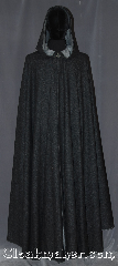 Cloak:3328, Cloak Style:Full Circle Cloak, Cloak Color:Heathered Black outside<br>Heathered Grey inside, Fiber / Weave:80% Wool / 20% Broken<br>Twill Weave Wool, Cloak Clasp:Vale, Hood Lining:Unlined light grey interior, Back Length:61&quot;, Neck Length:21&quot;, Seasons:Fall, Spring, Note:Made of a two tone broken twill weave<br>with and elegant drape with a dark<br>grey exterior and light grey interior.<br>Adorned with a vale<br>hook and eye clasp.<br>Dry clean only..
