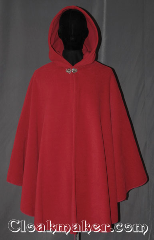 Cloak:3334, Cloak Style:Shaped Shoulder Ruana Cloak, Cloak Color:Rose Red, Fiber / Weave:Honeycomb Surface Fleece, Cloak Clasp:Vale, Hood Lining:Self-lined with low<br>velour fleece, Back Length:40&quot;, Neck Length:22&quot;, Seasons:Southern Winter, Fall, Spring, Note:A cross between a cape and a cloak, a ruana<br>is a great way to keep warm while<br>frequent, unhindered use of your arms <br>is needed. Ruanas make great driving cloaks!<br>This Ruana is extra long (34&quot;)<br>over the shoulders for even more coverage.<br>Machine washable cold gentle, tumble dry low.<br>Throw it on and go!.