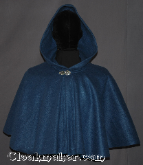 Cloak:3340, Cloak Style:Full Circle Cloak Short, Cloak Color:Steel Blue, Fiber / Weave:100% Polyester Economy Fleece, Cloak Clasp:Vale, Hood Lining:Unlined, Back Length:19.5&quot;, Neck Length:22.5&quot;, Seasons:Fall, Spring, Note:Easy care this full circle short blue cloak<br>is the perfect starter cloak for youth or adult<br> Made of midweight machine washable<br>economy fleece that provides a<br>lightweight warmth.<br>Suitable for &nbsp;late spring,&nbsp;early fall<br>or cool summer evenings.<br>You can even wrap up in it to watch TV..