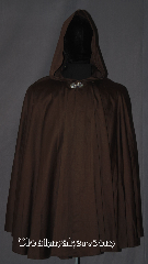 Cloak:3347, Cloak Style:Full Circle Cloak Short, Cloak Color:Chocolate Brown, Fiber / Weave:Cotton lycra sateen, Cloak Clasp:Vale, Hood Lining:Unlined, Back Length:35&quot;, Neck Length:21.5&quot;, Seasons:Fall, Spring, Note:Lightweight and easy care, in a<br>dark milk chocolate brown,<br>this full mid length circle cloak<br>is a great piece of spring outerwear.<br>Made with a no fuss cotton lycra sateen<br>this unlined cloak makes a great accessory for<br>everyday wear, LARP or Renaissance Fair.<br>The cloak is machine washable, so throw it on<br>whenever you need some extra warmth..