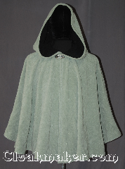 Cloak:3349, Cloak Style:Shaped Shoulder-Short, Cloak Color:Black, Summer mint green, Fiber / Weave:Windblock Polar Fleece, Cloak Clasp:Vale, Hood Lining:Doubled sided fabric with<br> black interior, Back Length:29&quot;, Neck Length:21&quot;, Seasons:Winter, Southern Winter, Fall, Spring, Note:A one of a kind shape shoulder cloak<br>made from the warmest fabric you can find.<br>Designed to block cold winter winds<br>and resist water.<br>This fleece is two tone<br>discontinued color combination of<br>summer green on the outside and<br>black on the inside<br>for that added pop of color.<br>Machine washable NEVER DRY CLEAN..