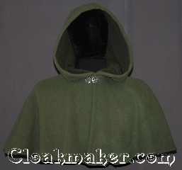 Cloak:3351, Cloak Style:Shaped Shoulder-Short, Cloak Color:Soft olive, Fiber / Weave:WindPro Fleece sherpa interior, Cloak Clasp:Vale, Hood Lining:Self-lining, sherpa texture, Back Length:16&quot;, Neck Length:21&quot;, Seasons:Winter, Southern Winter, Fall, Spring, Note:This water resistant olive short<br>shape shoulder fleece cloak is great<br>for children and adults<br>who enjoy outdoor activities.<br>With a soft matching sherpa fleece<br>inner texture this cloak will keep you<br>warm and protected from most weather.<br>Machine washable tumble dry hang..