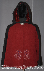 Cloak:3354, Cloak Style:Shaped Shoulder Parti Cloak, Cloak Color:Red black Blue Embroidered, Fiber / Weave:Wool Blend, Cloak Clasp:Vale, Hood Lining:Maroon Velvet, Back Length:33.5&quot;, Neck Length:19.5&quot;, Seasons:Fall, Spring, Southern Winter, Note:A modern mi-parti or parti-coloured<br>is a cloak made of three contrasting<br>fabrics red in front, black on the sides<br>and hood, and a heathered blue on the back.<br>Especially popular at the English<br>mid-century court.<br>Embroidered with two celtic horse heads<br>on the front this eye-catching cloak<br>is a fun garment for any occasion.<br> Dry or spot clean only..