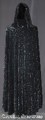 Cloak:3355, Cloak Style:Full Circle Cloak, Cloak Color:Black with Sparkles, Fiber / Weave:Stretch Poly blend with<br>mylar thread interwoven, Cloak Clasp:Vale, Hood Lining:Unlined, Back Length:54&quot;, Neck Length:20&quot;, Seasons:Fall, Spring, Summer, Note:The queen of the night and<br>&quot;She walks in beauty, like the night&quot;- Byron<br>Light weight and breathable<br>this magical black full circle cloak<br>is a show stopper.<br>With a athletic fabric feel<br> the cloak has silver mylar<br>interwoven and a flowing drape<br>with a little bounce this cloak<br>will sparkle under any lighting<br>Machine wash lay flat to dry..