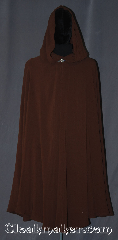 Cloak:3356, Cloak Style:Full Circle Cloak, Cloak Color:Oak Brown, Fiber / Weave:Loose weave gabardine, Cloak Clasp:Vale, Hood Lining:Unlined, Back Length:48&quot;, Neck Length:20&quot;, Seasons:Fall, Spring, Note:Easy care loose weave gabardine wool<br>full circle cloak in a oak brown color.<br>Adorned with base metal vale clasp.<br>Machine washable..