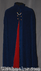 Cloak:3357, Cloak Style:Shaped Shoulder Cloak<br>Nurse&#039;s cape/ Wirt cape, Cloak Color:Blue, Fiber / Weave:Windblock Polar Fleece<br>Red interior, Cloak Clasp:Hidden Hook & Eye<br>with chain in front, Hood Lining:None<br>Collar Red interior, Back Length:41&quot;, Neck Length:21&quot;, Seasons:Winter, Southern Winter, Fall, Spring, Note:Are you ready to go<br>Over the Garden Wall?<br>This hoodless shape shoulder cloak<br>is based on Wirt&#039;s cloak and<br>a WW2 nurse&#039;s cape.<br>Made from double sided<br>ultra warm windblock polar fleece<br>with a red interior accented<br>with six gold shank buttons<br>and one silver chain.<br>Designed to block cold winter<br>winds and resist water.<br>Machine washable NEVER DRY CLEAN..