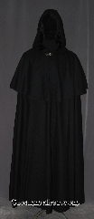 Cloak:3361, Cloak Style:Highwayman Shaped Shoulder Cloak<br>with arm slits and Mantle, Cloak Color:Black, Fiber / Weave:100% Wool, Cloak Clasp:Vale, Hood Lining:Black Velvet, Back Length:54.5&quot;, Neck Length:22&quot;, Seasons:Fall, Spring, Southern Winter, Note:&quot;And the highwayman came riding-<br>Riding -riding - The highwayman came riding&quot;<br>Alfred Noyes<br>  This mid-weight cloak is a great way to<br> bring a touch of drama and sophistication<br> to your cold weather wardrobe.<br> Luxurious 100% wool twill,<br>while the coachman / highwayman styling<br>adds a little extra flare for the eye.<br>With arm slits for controlling your steed<br>and a classic mantle for added warmth.<br>The generously-sized hood features a<br>stunning deep black velvet lining. <br>Finished with a vale hook and eye clasp.<br>Dry clean only.