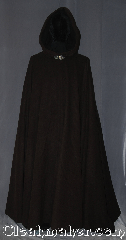 Cloak:3369, Cloak Style:Full Circle Cloak, Cloak Color:Heathered Chocolate Brown, Fiber / Weave:80% Wool / 20% Nylon, Cloak Clasp:Triple Medallion, Hood Lining:Unlined dark brown interior<br>double sided fabric, Back Length:53&quot;, Neck Length:20&quot;, Seasons:Fall, Spring, Southern Winter, Winter, Note:A heathered chocolate brown with<br>a lovely dark interior for a classic look.<br>The full circle cloak is made of a Wool blend<br>with a silvertone triple medallion<br>hook and eye clasp<br>Dry clean only..