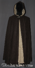 Cloak:3371, Cloak Style:Full Circle Cloak, Cloak Color:Brown, Taupe, Fiber / Weave:100% Polyester Fleece, Cloak Clasp:Vale, Hood Lining:Unlined taupe shearling interior<br>double sided fabric, Back Length:45&quot;, Neck Length:20&quot;, Seasons:Fall, Spring, Note:Warm and soft this fleece cloak<br>is dark brown with a lovely taupe<br>shearling interior with a<br>silvertone vale hook and eye clasp<br>Machine washable.