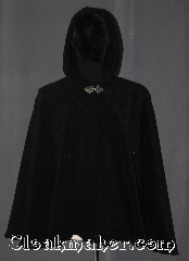 Cloak:3381, Cloak Style:Shaped Shoulder-Short Cloak, Cloak Color:Black, Fiber / Weave:100% Polyester Fleece Windpro, Cloak Clasp:Triple Medallion, Hood Lining:Unlined matching shearling interior<br>double sided fabric, Back Length:30&quot;, Neck Length:22&quot;, Seasons:Fall, Spring, Southern Winter, Winter, Note:Warm and soft this fleece cloak is<br>black throughout with a  soft shearling interior <br>and silvertone triple medallion<br>hook and eye clasp<br>Machine washable.