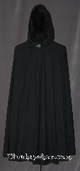 Cloak:3389, Cloak Style:Full Circle Cloak, Cloak Color:Ink Black, Fiber / Weave:Cotton polyester blend Flannel, Cloak Clasp:Vale, Hood Lining:Unlined, Back Length:43&quot;, Neck Length:20&quot;, Seasons:Spring, Fall, Summer, Note:Easy care polyester cotton flannel makes this<br>cloak an easy and elegant choice for a little<br>extra warmth on a cold evening.<br>Great for a day at the Renaissance Fair<br>or a weekend LARP.<br>Machine washable cold gentle, tumble dry low.<br>Throw it on and go!.