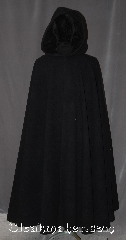 Cloak:3394, Cloak Style:Full Circle Cloak, Cloak Color:Ink Black, Fiber / Weave:100% Wool, Cloak Clasp:Pick your own [additional cost]<br>Heavy duty required<br>No charge to attach clasp, Hood Lining:Black Velvet, Back Length:54.5&quot;, Neck Length:20&quot;, Seasons:Winter, Southern Winter, Fall, Spring, Note:Warm and weighty this ink black 100% wool<br>full circle cloak is  warm enough for<br>the coldest winters with a silky soft<br>black velvet hood lining.<br>A heavy duty clasp is highly recommended<br>for a cloak of this density<br>Clasp NOT included in price<br>but will be attached at no charge<br>Comforting for cold New England winters<br>Spot or dry clean only..