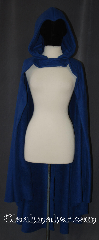 Cloak:3401, Cloak Style:Half Circle<br>Raven Teen Titans, Cloak Color:Persian Blue, Fiber / Weave:Fleece shearling<br>interior double sided, Cloak Clasp:Snap Button, Hood Lining:Fleece partial lined with widows peak, Back Length:50&quot;, Neck Length:18.5&quot;, Seasons:Southern Winter, Fall, Spring, Note:&quot;Azarath... Metrion... ZINTHOS!&quot;<br> Help fight evil in this easy care<br>half circle fleece cloak.<br>Designed after Teen Titans Raven with a<br>widows peak hood and open front.<br>Perfect for conventions<br>or cool fall outings.<br>Machine Washable.<br>Contact us to custom order<br>Raven&#039;s belt and clasp..