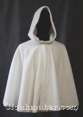 Cloak:3405, Cloak Style:Full Circle Cloak Short, Cloak Color:Snow White, Fiber / Weave:Fleece shearling, Cloak Clasp:Alpine Knot - Goldtone, Hood Lining:Unlined white shearling<br>interior double sided fabric, Back Length:28&quot;, Neck Length:21&quot;, Seasons:Winter, Southern Winter, Fall, Note:Envelope yourself in a fluffy<br>snow white short full circle cloak<br>for the holidays.<br>Perfect for children to adults<br>made of fleece shearling<br>with a gold alpine knot clasp.<br>Machine washable..