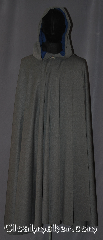 Cloak:3412, Cloak Style:Full Circle Cloak, Cloak Color:Grey heathered, Fiber / Weave:Rayon Lycra, Cloak Clasp:Vale, Hood Lining:Dusty Cobalt moleskin, Back Length:49&quot;, Neck Length:22&quot;, Seasons:Fall, Spring, Note:Lightweight and easy care,<br>in a heathered grey<br>this full circlecloak  is a great piece<br>of spring/fall outerwear.<br>Made with a rayon lycra suiting that is<br>cool to the touch with a fun bounce and drape.<br>The hood is lined in a dusty cobalt blue moleskin<br>with a Vale hook and eye closure.<br>The ease of care makes this cloak<br>a great accessory for everyday wear,<br> LARP or Renaissance Fair.<br>The cloak is machine washable, so throw it on<br>whenever you need some extra warmth..