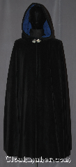 Cloak:3417, Cloak Style:Full Circle Cloak, Cloak Color:Black, Fiber / Weave:Cotton Velveteen, Cloak Clasp:Triple Medallion, Hood Lining:Steel Blue moleskin, Back Length:46&quot;, Neck Length:23&quot;, Seasons:Southern Winter, Fall, Spring, Note:A versatile and classic black<br>full circle velvet cloak<br>is ideal for cool weather outings<br>and snuggling in the evenings.<br>Made from a machine washable<br>cotton velveteen.<br>This cloak has a basic triple medallion<br>clasp and steel blue moleskin hood lining..