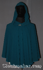 Cloak:3425, Cloak Style:Full Circle Cloak Short, Cloak Color:Teal/Mallard Blue, Fiber / Weave:Polyester, Cloak Clasp:Vale, Hood Lining:Unlined, Back Length:28&quot;, Neck Length:20&quot;, Seasons:Summer, Fall, Spring, Note:Easy care polyester this<br>short mallard teal cloak is an easy and<br>elegant choice with a dramatic drape<br>for a little extra warmth<br>on a cold evening.<br>Great for a child to grow into<br>or a elegant wrap for night on the town.<br>Machine washable cold gentle, tumble dry low.<br>Throw it on and go!.