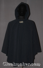 Cloak:3441, Cloak Style:Ruana, Cloak Color:Navy Blue, Fiber / Weave:WindPro Fleece, Cloak Clasp:Triple Medallion, Hood Lining:Unlined faux shearling<br>interior double sided fabric, Back Length:35&quot; / 24.5&quot; overarm, Neck Length:24&quot;, Seasons:Winter, Southern Winter, Fall, Spring, Note:This navy blue windpro ruana cloak<br>will keep you warm and dry<br>on chilly nights.<br>A cross between a cape and a cloak,<br>a ruana is a great way to keep warm<br>while frequent, unhindered use of<br>your arms is needed.<br>With an overarm of 24.5&quot; this cloak<br>has less bulk than a<br>traditional Ruana and<br>makes a great driving cloak!<br>The soft and cuddly interior<br>is a faux shearling texture for<br>extra comfort and a water resistant<br>outer layer to keep you dry<br>during light rain/snow.<br>The silver-tone triple medallion clasp<br>is the final touch on this<br>functional and elegant cloak.<br>Machine washable<br>DO NOT DRY CLEAN..