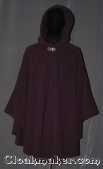 Cloak:3449, Cloak Style:Ruana Shaped Shoulder Cloak, Cloak Color:Plum Purple, Fiber / Weave:WindPro Fleece, Cloak Clasp:Triple Medallion, Hood Lining:Unlined faux shearling<br>interior double sided fabric, Back Length:41&quot; back<br>30&quot; overarm, Neck Length:21&quot;, Seasons:Winter, Southern Winter, Fall, Spring, Note:A regal plumb windpro ruana cloak<br>will keep you warm and dry<br>on chilly nights.<br>A cross between a cape and a cloak,<br>a ruana is a great way to keep warm<br>while frequent, unhindered use of<br>your arms is needed.<br>With an overarm of 30&quot; this cloak<br>has less bulk than a<br>traditional Ruana and<br>makes a great driving cloak!<br>The soft and cuddly interior<br>is a faux shearling texture for<br>extra comfort and a water resistant<br>outer layer to keep you dry<br>during light rain/snow.<br>The silver-tone triple medallion clasp<br>is the final touch on this<br>functional and elegant cloak.<br>Machine washable<br>DO NOT DRY CLEAN..