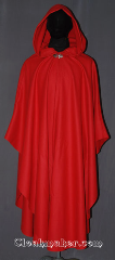 Cloak:3455, Cloak Style:Shaped Shoulder Ruana Cloak, Cloak Color:Red, Fiber / Weave:Wool Melton, Cloak Clasp:Vale, Hood Lining:Unlined, Back Length:51.5&quot; back<br>25.5&quot; side, Neck Length:20.5&quot;, Seasons:Fall, Spring, Note:Visiting Grandma for the holidays?<br>This red shape shoulder ruana<br>will get you there in style.<br>A cross between a cape and a cloak,<br>a ruana is a great way to keep warm<br>while frequent, unhindered use of<br>your arms is needed.<br>With an overarm of 25.5&quot; this  cloak<br>has less bulk than a<br>traditional Ruana and<br>makes a great driving cloak!<br>Made from a tight weave melton<br>with a classic silver-tone vale<br>hook and eye clasp.<br>Dry clean only<br>Can be hemmed to height..