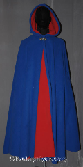 Cloak:3459, Cloak Style:Full Circle Cloak, Cloak Color:True blue and red, Fiber / Weave:Fleece two layers of 200 weight, Cloak Clasp:Triple Medallion, Hood Lining:Unlined red interior<br>double sided fabric, Back Length:49&quot;, Neck Length:20&quot;, Seasons:Southern Winter, Fall, Spring, Note:Cheer on your favorite sports teams<br>while staying warm on the sidelines.<br>Made of a layered fleece with<br>a blue exterior and red interior.<br>Machine washable<br>Can be warn over football pads<br>and hemmed to height..