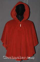 Cloak:3460, Cloak Style:Poncho / Ruana, Cloak Color:Burnt umber, Fiber / Weave:Hi Loft Fleece (long silky fur inside)<br>with durable water resistant finish., Cloak Clasp:Hidden Hook & Eye, Hood Lining:Self-lining - burnt umber, Back Length:29.5&quot; back<br>18.5&quot; side, Neck Length:22.5&quot;, Seasons:Southern Winter, Fall, Spring, Note:This Hi-Loft pullover fleece cloak<br>blocks more wind than<br>a basic fleece and has a durable<br>water resistant outer finish!<br>It&#039;s perfect for cool, rainy, windy climates.<br>Machine washable cold gentle, tumble dry low.<br>Throw it on and go!<br>Short enough for a child&#039;s starter cloak<br>or a light caplet for formal evenings.<br>Note: can build a static charge<br>on dry winter days..