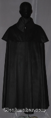 Cloak:3461, Cloak Style:Highwayman Shaped Shoulder Cloak<br>with high collar and Mantle, Cloak Color:Black, Fiber / Weave:Wool Cashmere, Cloak Clasp:TBD, Hood Lining:N/A Black collar, Back Length:48&quot;, Neck Length:19.5&quot;, Seasons:Southern Winter, Fall, Spring, Note:&quot;Riding beside him was the women<br>whose love and companionship<br>meant more to him than all the rest.&quot;<br>- Poldark.<br>This black highwayman cloak<br>with two layers for warmth will fit<br>right in on a revolutionary era drama.<br>Made of a soft wool cashmere<br>you will be warm for any cool<br>evening event or daily activity.<br>Accented with a hight pointed collar<br>and tbd clasp.<br>Dry clean only..