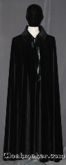 Cloak:3464, Cloak Style:Full Circle Cloak<br>(Drosselmeyer), Cloak Color:Black, Fiber / Weave:Stretch Velvet, Cloak Clasp:Ties, Hood Lining:N/A Black collar, Back Length:53.5&quot;, Neck Length:24&quot;, Seasons:Fall, Spring, Note:Designed with Uncle Drosselmeyer<br>in mind this collared velvet cloak has<br>a theatrical drape / bounce with a<br>high victorian collar and ribbon closure.<br>The hidden interior straps allow for<br>acrobatic movements with no slip.<br>The straps can be crossed in front or back<br>to show off your moves or inside outfit.<br>Machine washable<br>Can be hemmed to height..