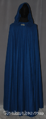 Cloak:3494, Cloak Style:Full Circle Cloak, Cloak Color:Blue mottled weave, Fiber / Weave:100% wool, Cloak Clasp:Vale, Hood Lining:Unlined, Back Length:57.5&quot;, Neck Length:21&quot;, Seasons:Fall, Spring, Note:&quot;I&#039;m trav&#039;lin&#039; alone Blue water&#039;s<br>my daughter  &#039;n I&#039;m gonna skip<br>like a stone&quot; - Tom Waits<br> This full circle blue cloak will keep<br>you safe on your adventures.<br>Made of a 100% wool weave with a<br>multiple shades of blue throughout<br>creates a calming piece to wear<br>on cool nights.<br>Adorned with a vale hook and eye clasp.<br>Spot or dryclean only<br>Can be hemmed to height..