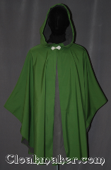 Cloak:3495, Cloak Style:Shape shoulder<br>Ruana raincoat, Cloak Color:Green, Fiber / Weave:3 layer ultrex, Cloak Clasp:Matt Lise, Hood Lining:Unlined grey fleece interior<br> double sided fabric, Back Length:40&quot;back<br>25&quot; overarm, Neck Length:24&quot;, Seasons:Winter, Southern Winter, Fall, Spring, Note:You will be sining in the rain in this<br>waterproof ultrex ruana cloak.<br>The 3 layered fabric has a<br>green crosshatched outer lining<br>and an absorbent grey fleece interior,<br>with a thin windblocking material in between.<br>A cross between a cape and a cloak,<br>a ruana is a great way to keep warm when<br>frequent, unhindered use of your arms is needed.<br>Ruanas make great driving cloaks!<br>Machine wash cold..