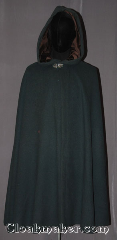 Cloak:3501, Cloak Style:Shaped Shoulder Cloak, Cloak Color:Forest Green, Fiber / Weave:80% wool, 20% nylon, Cloak Clasp:Vale, Hood Lining:Dark Brown Cotton Velvet, Back Length:43&quot;, Neck Length:21.5&quot;, Seasons:Winter, Southern Winter, Fall, Spring, Note:A classic woodland piece.<br>This full circle forest green cloak<br>is made of a wool blend with a<br>purple velveteen hood lining.<br>Adorned with a vale hook and eye clasp.<br>Spot or dryclean only<br>Can be hemmed to height..