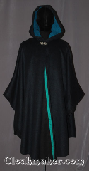 Cloak:3519, Cloak Style:Shape Shoulder Ruana, Cloak Color:Navy Blue Heathered with cobalt and green, Fiber / Weave:100% Wool Melton, Cloak Clasp:Vale, Hood Lining:Teal moleskin<br> and green/teal ribbon<br>along interior edge, Back Length:45&quot; back<br>31&quot; arm, Neck Length:20.5&quot;, Seasons:Southern Winter, Fall, Spring, Note:The pictures do not do this cloak justice.<br>A cross between a cape and a cloak,<br>a shape shoulder ruana is a great way<br>to keep warm when frequent,<br>unhindered use of your arms is needed.<br>Ruanas make great driving cloaks!<br>Made from a gorgeous navy blue wool blend<br>heathered with a jewel tone blues and greens<br>The hood is lined with a soft mallard green moleskin<br>and adorned with a classic vale hook-and-eye clasp.<br>Dry Clean Only.