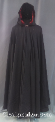 Cloak:3523, Cloak Style:Full Circle Cloak, Cloak Color:Black, Fiber / Weave:Wool blend suiting, Cloak Clasp:Vale, Hood Lining:Dark Red Velvet, Back Length:56&quot;, Neck Length:19&quot;, Seasons:Summer, Fall, Spring, Note:A classic black full circle cloak<br>with a dark red velvet hood lining.<br>The final touch on this functional<br>and elegant cloak is a<br>pewter vale hook and eye clasp.<br>Hand wash or dry clean lay flat..