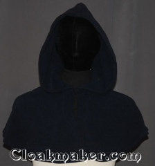 Cloak:3527, Cloak Style:Shape Shoulder<br>Pullover Capelet short, Cloak Color:Navy, Fiber / Weave:Windblock Polar Fleece, Cloak Clasp:TBD Keyhole, Hood Lining:Unlined, Back Length:13&quot;, Neck Length:21&quot;, Seasons:Winter, Southern Winter, Fall, Spring, Note:This origional pieced short shape shoulder<br>capelet in navy will keep you warm all winter<br>by providing 100% wind resistance.<br>It&#039;s a double layer Windblock polar fleece<br>with a windproof membrane laminated<br>between the water resistant outer layer<br>and the absorbent inner layer.<br>Machine wash cold gentle, tumble dry low.<br>A ideal starter cloak for a child<br>or touch of warmth for a adult.<br> DO NOT DRY CLEAN..