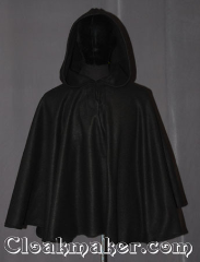 Cloak:3530, Cloak Style:Full Circle Pullover, Cloak Color:Black, Fiber / Weave:Economy Fleece, Cloak Clasp:TBD Keyhole, Hood Lining:Unlined, Back Length:28.5&quot;, Neck Length:21&quot;, Seasons:Southern Winter, Fall, Spring, Note:A simple black economy fleece<br>shape shoulder pullover cloak<br>that will keep you warm on cool nights.<br>This soft and cuddly cloak is<br>machine washable<br>A ideal starter cloak for a child or adult..