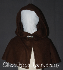 Cloak:3531, Cloak Style:True Half Circle Capelet<br>short/youth, Cloak Color:Milk Chocolate Brown, Fiber / Weave:100% Wool, Cloak Clasp:Alpine Knot - Silvertone, Hood Lining:Unlined, Back Length:14.5&quot;, Neck Length:21&quot;, Seasons:Winter, Southern Winter, Fall, Spring, Note:This beautiful short capelet<br>is a perfect starter cloak<br>Made from 100% wool this small<br>milk chocolate brown fits children and adults.<br>Spot or dryclean only..