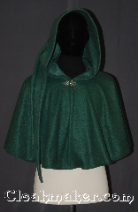Cloak:3538, Cloak Style:Full circle capelet short /youth, Cloak Color:Green, Fiber / Weave:Polyester Economy Fleece, Cloak Clasp:Vale, Hood Lining:Unlined<br>44&quot; lirepipe, Back Length:21&quot;, Neck Length:23&quot;, Seasons:Fall, Spring, Note:This green lightweight economy fleece<br>lirepipe full circle short cloak<br>provides warmth with very little weight.<br>Suitable for indoor wear late spring,<br>early fall, cool summer evenings<br>or just snuggling on the couch.<br>A lirepipe is both useful and<br>fashionable when you wrap the elongated<br>hood around your neck in windy weather.<br>Easy care /machine washable..