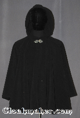 Cloak:3541, Cloak Style:Full Circle Cloak, Cloak Color:Black, Fiber / Weave:WindPro Fleece, Cloak Clasp:Triple Medallion, Hood Lining:Unlined matching Shearling interior<br>double sided fabric, Back Length:30&quot;, Neck Length:23&quot;, Seasons:Winter, Southern Winter, Fall, Spring, Note:A classic black windpro full circle cloak that<br>will keep you warm and dry on chilly nights.<br>This soft and cuddly cloak has an<br>interior faux shearling texture<br>for extra comfort.<br>The final touch on this functional and<br>elegant cloak is a water resistant outer<br>layer to keep you dry during light rain/snow.<br>A ideal starter cloak for an adult.<br>Machine washable.