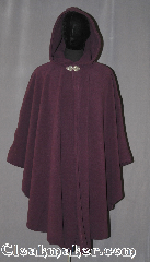 Cloak:3542, Cloak Style:Ruana Shaped Shoulder Cloak, Cloak Color:Dark dusty plum purple, Fiber / Weave:WindPro Fleece, Cloak Clasp:Triple Medallion, Hood Lining:Unlined matching Shearling interior<br>double sided fabric, Back Length:44.5&quot; back<br>28&quot; overarm, Neck Length:22&quot;, Seasons:Winter, Southern Winter, Fall, Spring, Note:A regal plumb windpro ruana cloak that<br>will keep you warm and dry on chilly nights.<br>A cross between a cape and a cloak,<br>a ruana is a great way to keep warm<br>while frequent, unhindered use of<br>your arms is needed.<br>With an overarm of 30&quot; this cloak<br>has less bulk than a<br>traditional Ruana and<br>makes a great driving cloak!<br>This soft and cuddly cloak has an<br>interior faux shearling texture<br>for extra comfort and a water<br> resistant outer layer to keep<br> you dry during light rain/snow.<br>The silver-tone triple medallion clasp<br>is the final touch on this<br>functional and elegant cloak.<br>Machine washable<br>DO NOT DRY CLEAN..