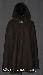 Cloak:3544, Cloak Style:Shape Shoulder Cloak, Cloak Color:Heathered Chocolate Brown, Fiber / Weave:80% Wool / 20% Nylon cashmere blend, Cloak Clasp:Triple Medallion, Hood Lining:Unlined, Back Length:39&quot;, Neck Length:23&quot;, Seasons:Southern Winter, Fall, Spring, Note:A heathered chocolate brown<br>shape shoulder cloak has<br>less bulk than a full circle.<br>Made with a Wool blend cashmere with a<br>silvertone triple medallion hook and eye clasp<br>Dry clean only..